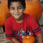 little boy outside with pumpkins